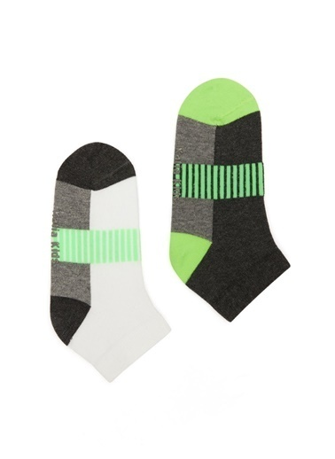 Katia & Bony Neon Yeşili 2Li Çocuk Patik Çorap  Beyaz